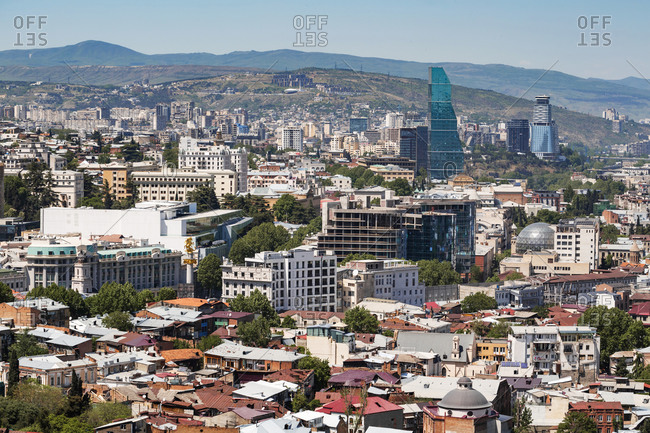 May 2, 2018: Cityscape against mountains during sunny day- Tbilisi- Georgia