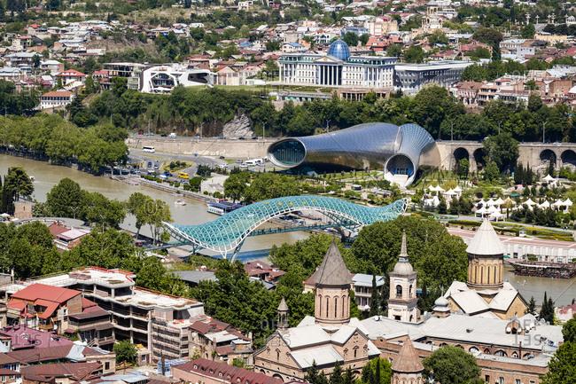 Bridge of Peace over Kura River in city at Tbilisi- Georgia