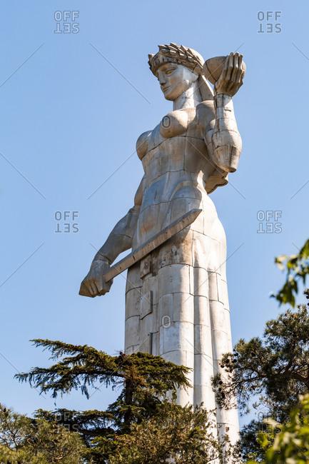May 2, 2018: Kartlis Deda against clear blue sky- Tbilisi- Georgia
