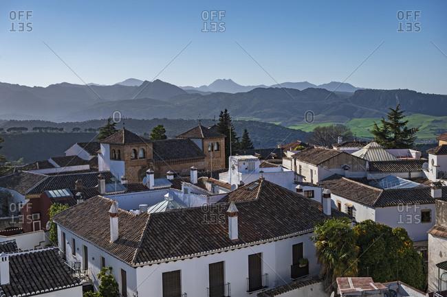 Spain, Ronda - February 27, 2020: Townscape and Sierra de Grazalema