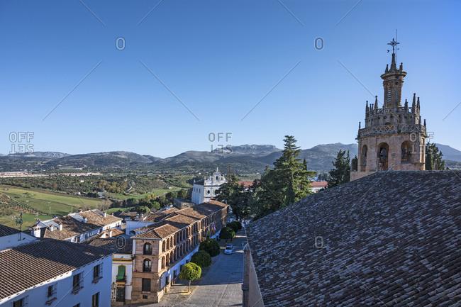 Spain, Ronda, Plaza Duquesa de Parcent seen from Iglesia Santa Maria la Mayor