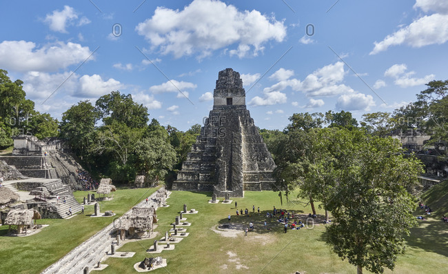 Guatemala, Tikal, View of Mayan pyramid