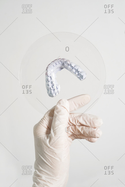 Crop anonymous dentist in medical gloves holding dental prosthesis in modern laboratory
