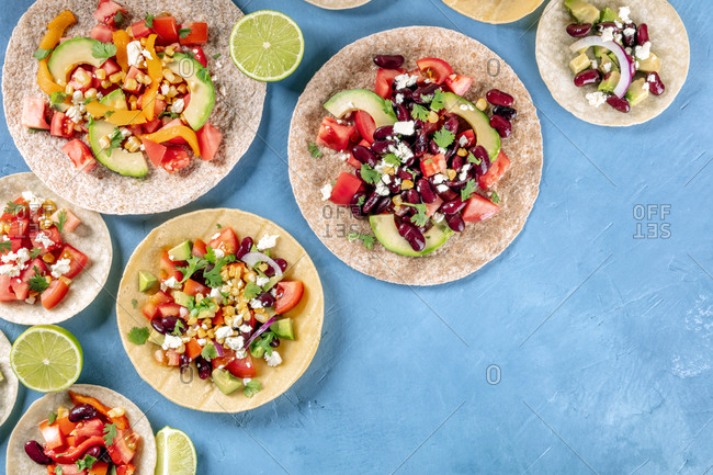 Vegetarian Mexican food, a flat lay. Tacos with vegetables, overhead shot with a place for text