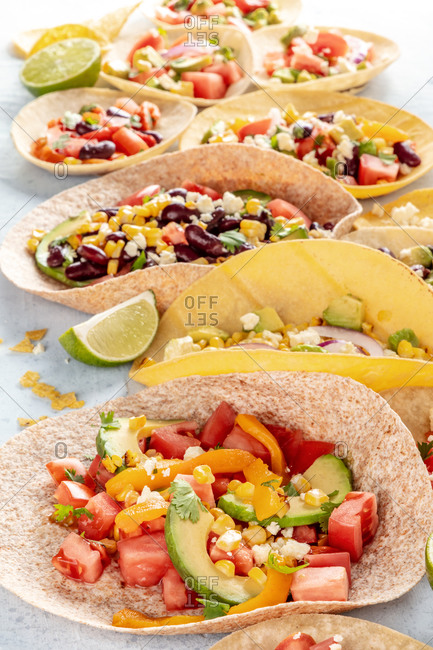 Mexican food. Vegetarian tacos with vegetables