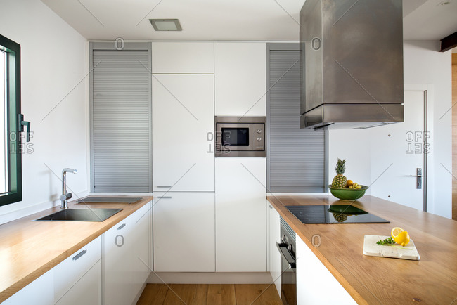 Interior of contemporary kitchen in Scandinavian style
