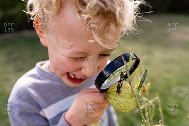 Close up of a little blonde boy looking at a caterpillar with a magnifying glass