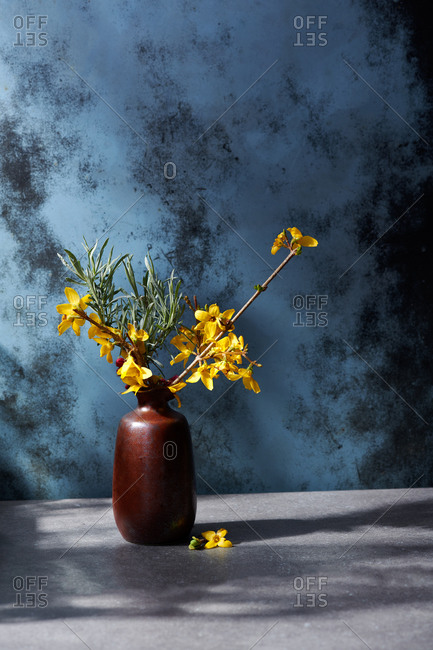 Vase with various spring buds and flowers in dappled afternoon light