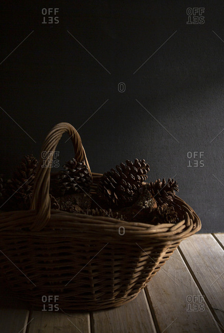 Basket filled with pinecones
