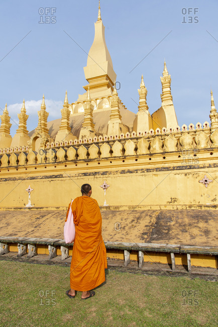 Monk at the Golden Temple in Vientiane, Laos