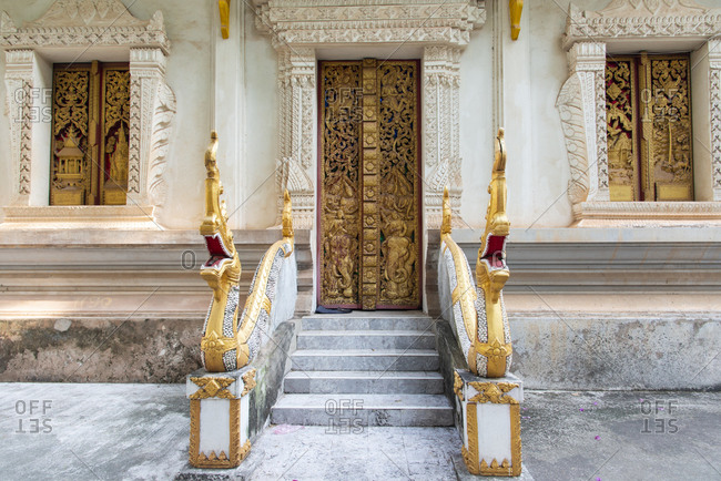 Entrance to a Buddhist temple in Vientiane, Laos