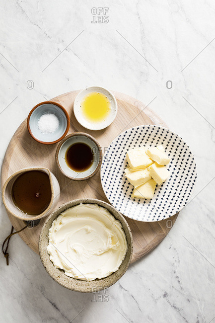 Ingredients for maple Cream Cheese Frosting