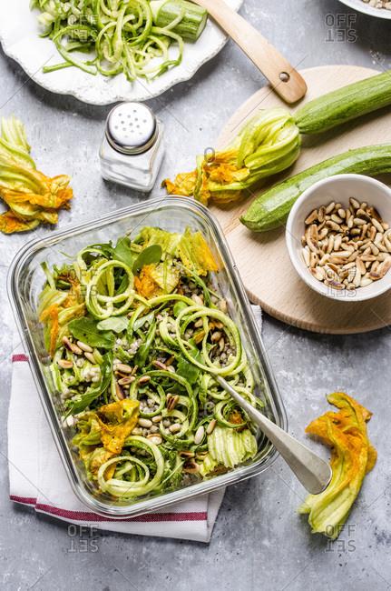 Sandwich box with faro salad box with buckwheat and marinated zucchini salad