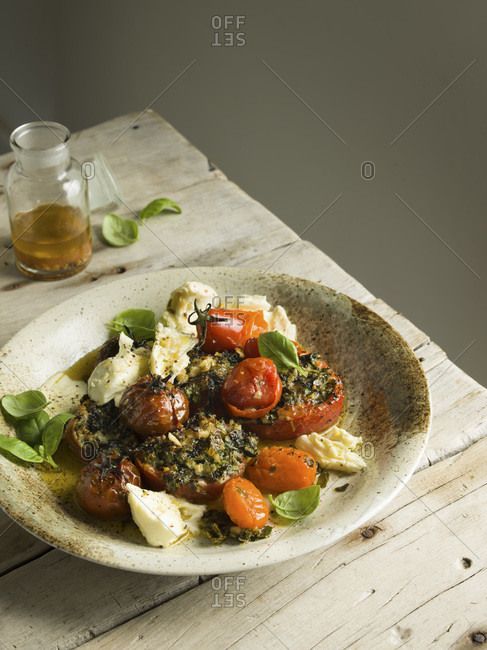 Roasted tomato salad with basil and mozzarella