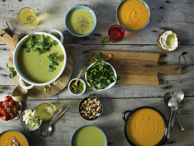 Butternut soup and Pea soup