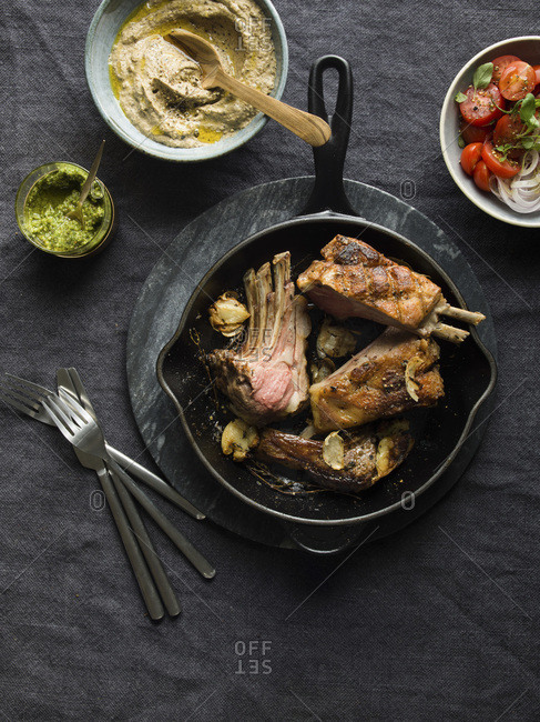 Lamb Rack with aubergine cream and Honey mustard pesto