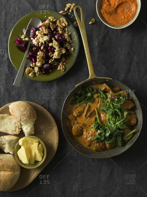 Peri Peri Chicken Livers with Beetroot and walnut salad