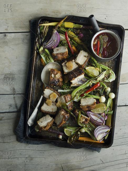 Roast Pork Belly  and Vegetables