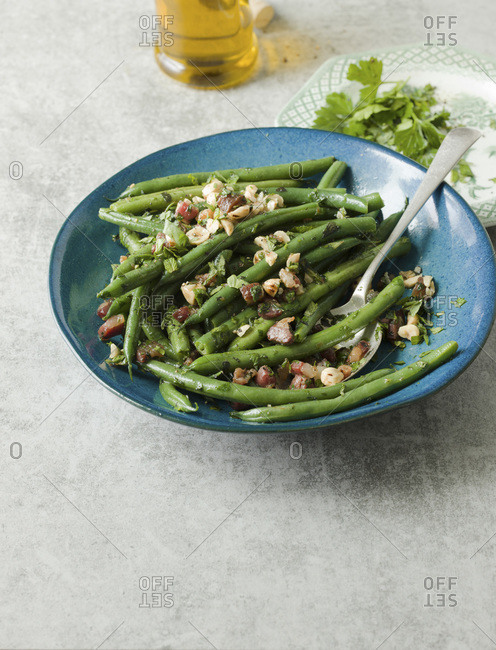Green Beans with Pancetta and Hazelnut.