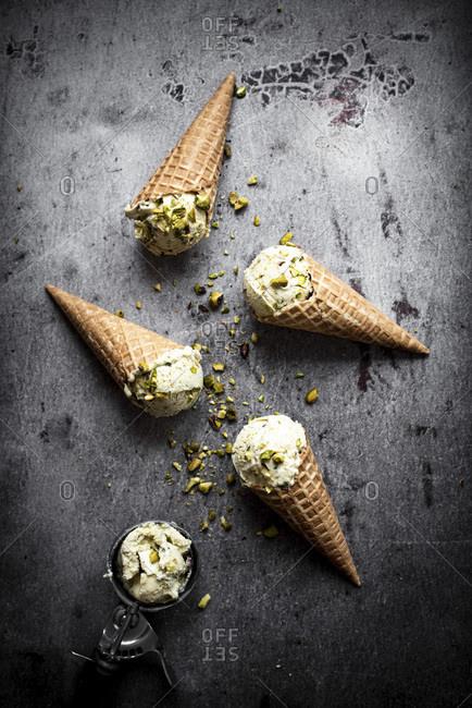 Pistachio Ice Cream In Waffle Cones