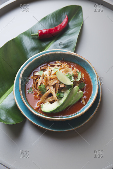 Aztec soup. Top view of mexican fried tortilla soup Sopa Azteca