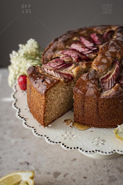 Lemon Rhubarb Cake studio shot