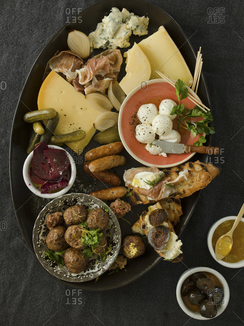 Platter, cheese, and meats studio shot