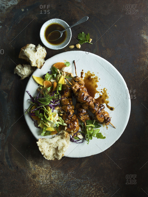 Chicken Skewer & Salad studio shot