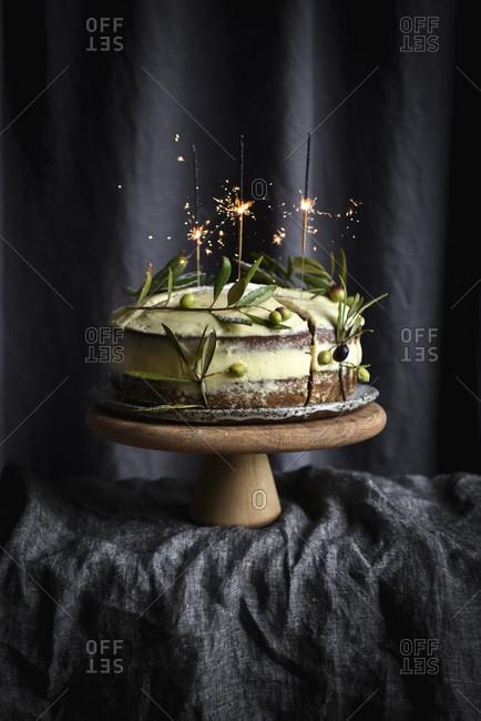 Sparklers on Carrot Cake studio shot