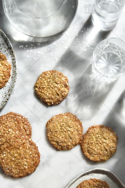 Sunlit Cookies overhead studio shot