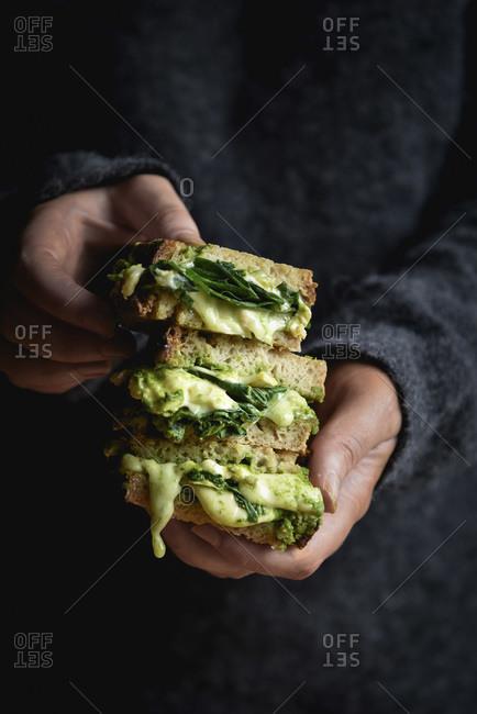 Green Grilled Cheese sandwich studio shot