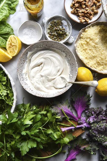 Caesar Salad Ingredients studio shot