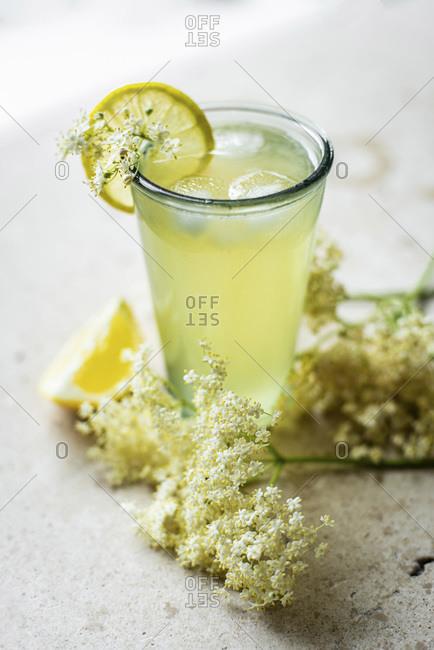 Elderflower Lemonade glass studio shot