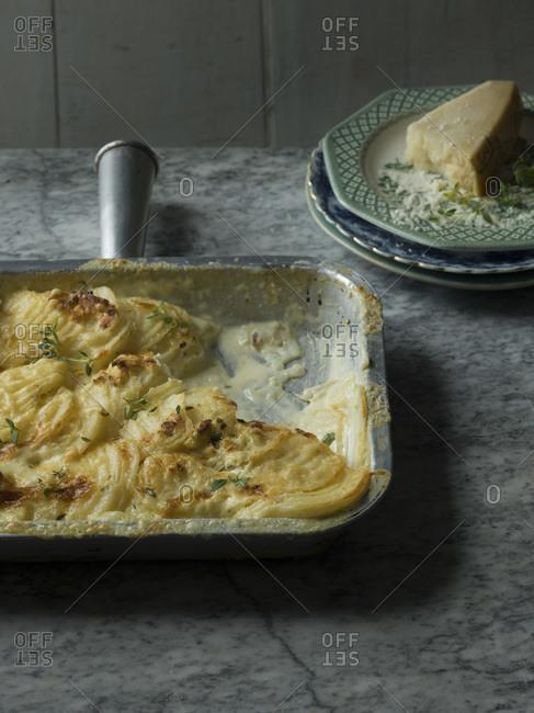 Potato Bake in sheet pan studio shot