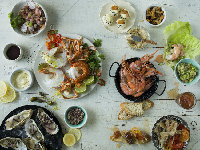 Seafood platter overhead studio shot