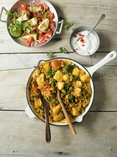 Potato curry overhead studio shot