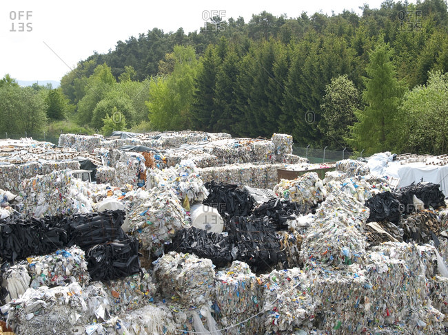 Stacks of recycling bundles at facility