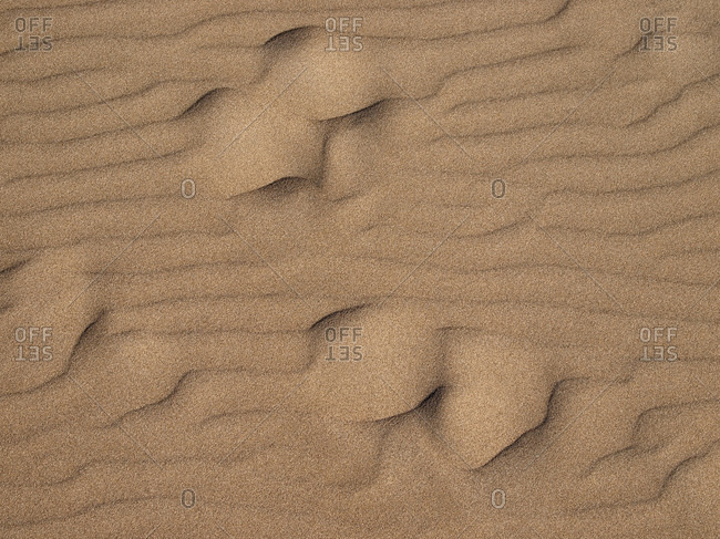 Macro shot of patterned sand structures