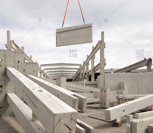 Building site moving brickwork structures