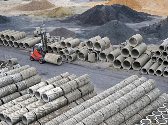 Building pit at construction site
