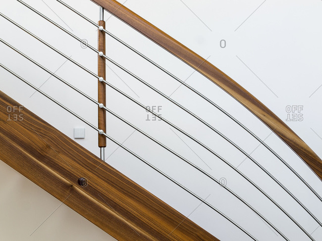 Modern wood and wire banisters