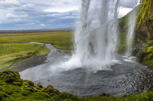 Beautiful landscape of Seljalandsfoss waterfall in Iceland