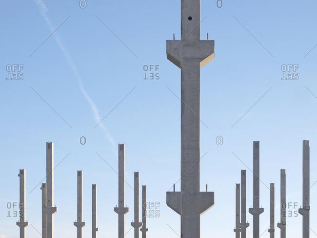 construction site in concrete columns