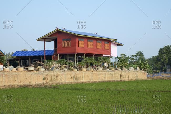Stilt house in Sukhothai in Thailand