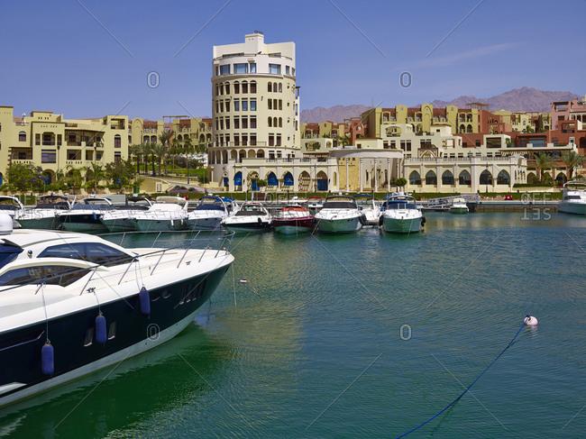 April 12, 2010: Marina  on Tala Bay near Aqaba, Jordan, Middle East,
