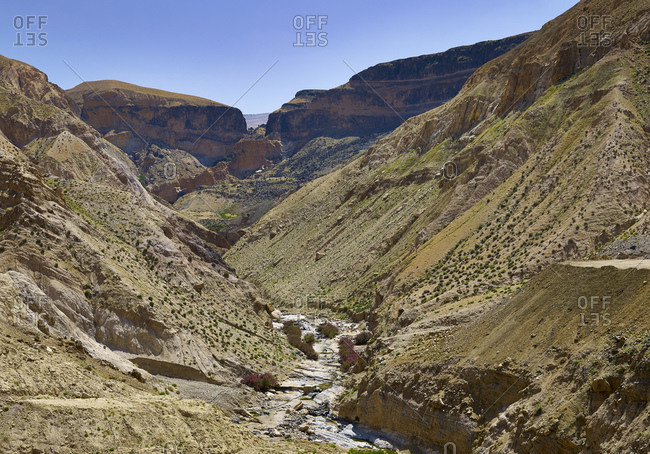 Valley of hot springs at Ain Zarqa, Madaba Province, Jordan, Middle East,