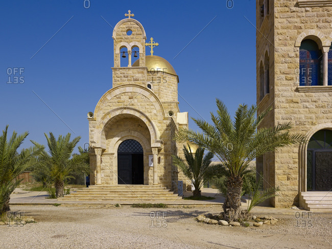 April 13, 2010: Baptism site of Jesus with new Orthodox Church and bell tower, Bethany, Balqa Province, Jordan, Middle East,