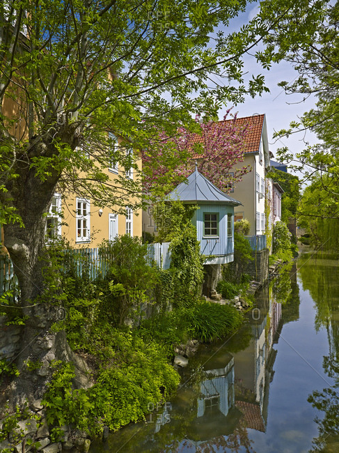 Houses on the mountain stream of the Gera in Erfurt, Thuringia, Germany,