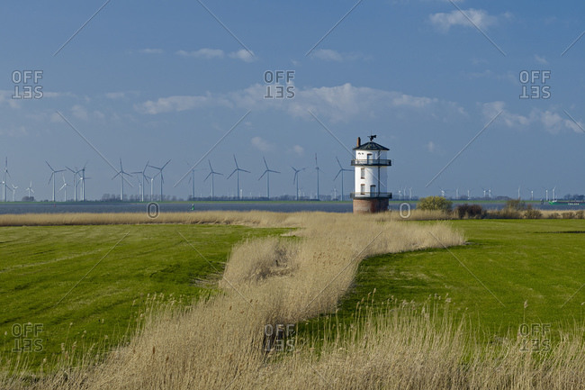 Lighthouse Balje on the Elbe, Nordkehdingen, district of Stade, Lower Saxony, Germany,