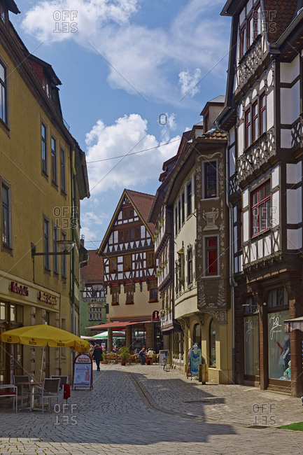 May 8, 2013: View into the alley of the island at the salt bridge in Schmalkalden, Thuringia, Germany,